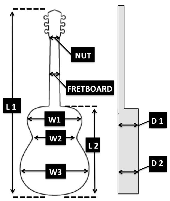 dimensiones de la guitarra acústica fg800 y fg700